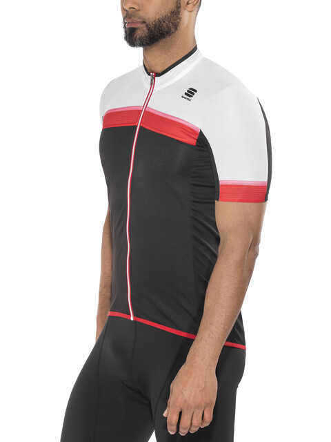 Sportful Pista Jersey Men black/white/red-coral fluo